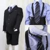 [男児スーツ]半ズボン/黒3つ釦/青ストライプシャツ/BS20