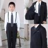 [男児スーツ]長ズボン/黒/白地ストライプシャツ/BS19