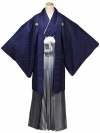 藍色地菱の中にシルバー・薄水色紺色ぼかしシルバー縞袴