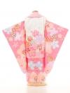 七五三レンタル(3歳女の子被布)3154白×ピンク花