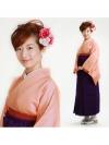 卒業式袴 正絹 ピンク L103 紫袴【身長160cm位】