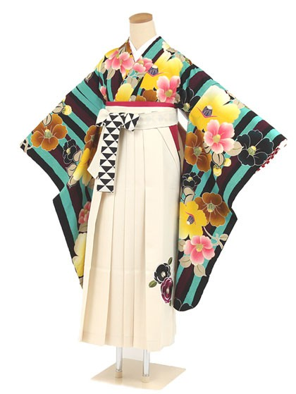 紅一点・黒・エメラルドグリーン縦縞に大きな椿×クリーム色地椿刺繍袴