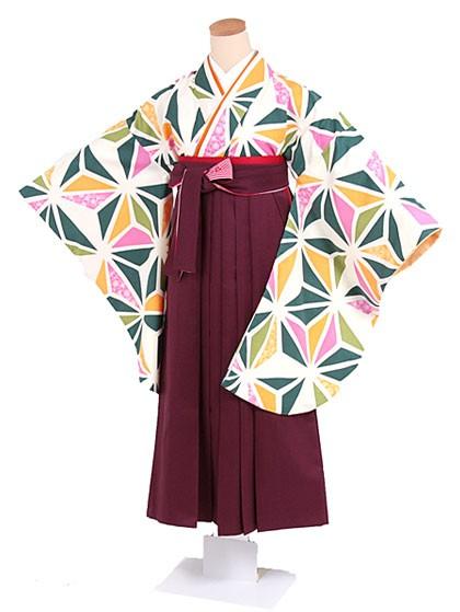 黄緑ピンクの麻の葉柄×濃いエンジ色袴