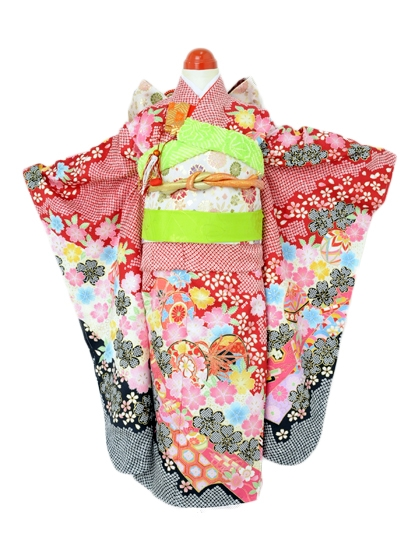 七五三(7歳女児)j724赤鹿の子流水桜