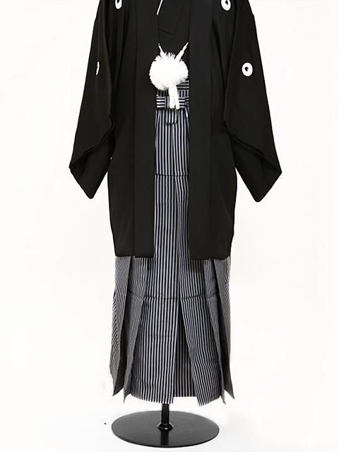 高級黒紋付羽織袴 正絹 3L 縞袴 大きい 父 結婚