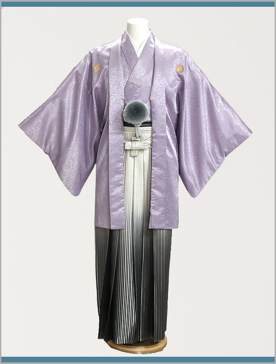 男性用袴t701yパープル薔薇柄羽織黒白ぼか/