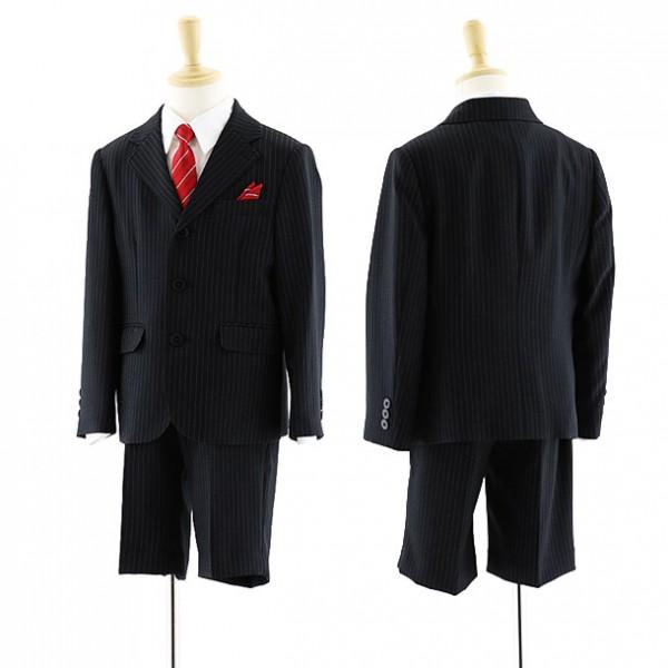 [男児スーツ]半ズボン ピンストライプ ブラックスーツ 0060 100㎝~