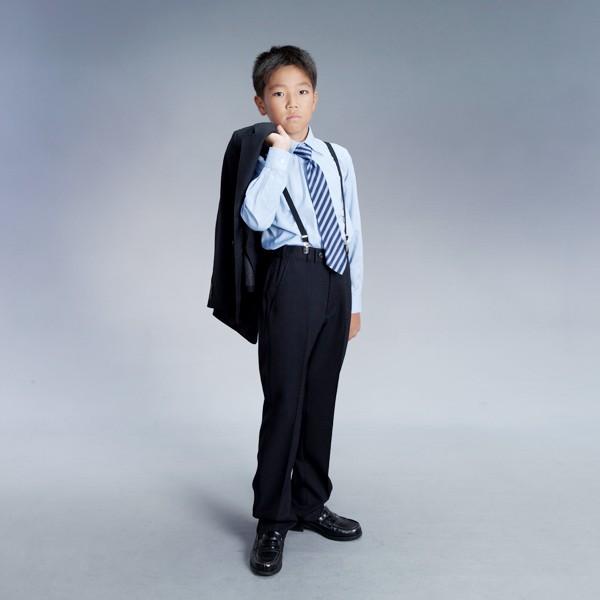 [男児スーツ]長ズボン/黒ストライプ/青Yシャツ/BS13