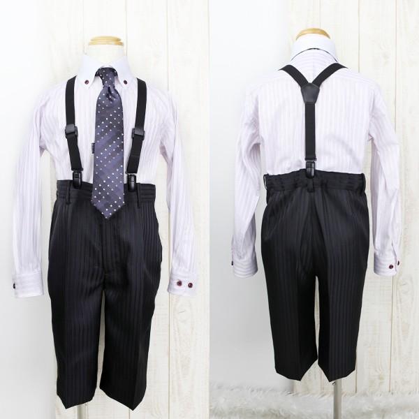 [男児スーツ]半ズボン/黒シャドー×青ピンストライプ/BS21