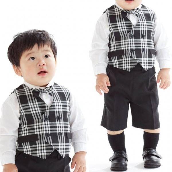 [男児スーツ]半ズボン/ベスト付/モノトーンチェック柄BS26