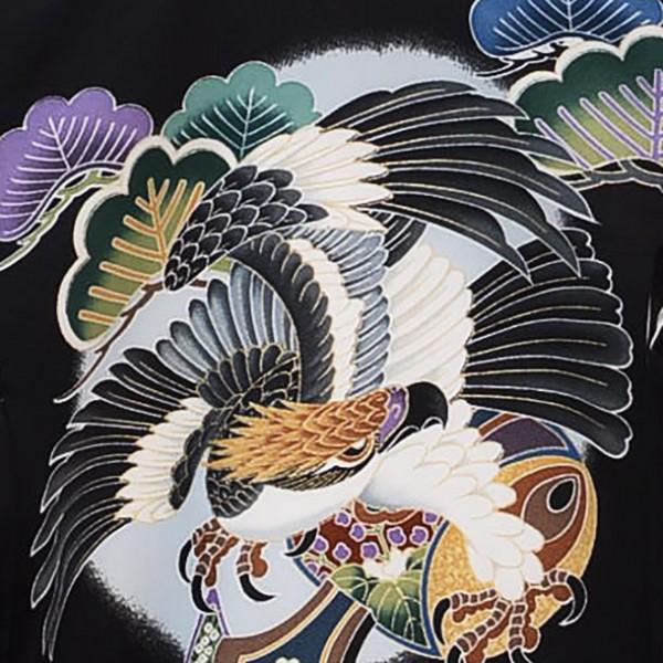 産着レンタル 男の子(お宮参り)1117黒 鷹と鼓