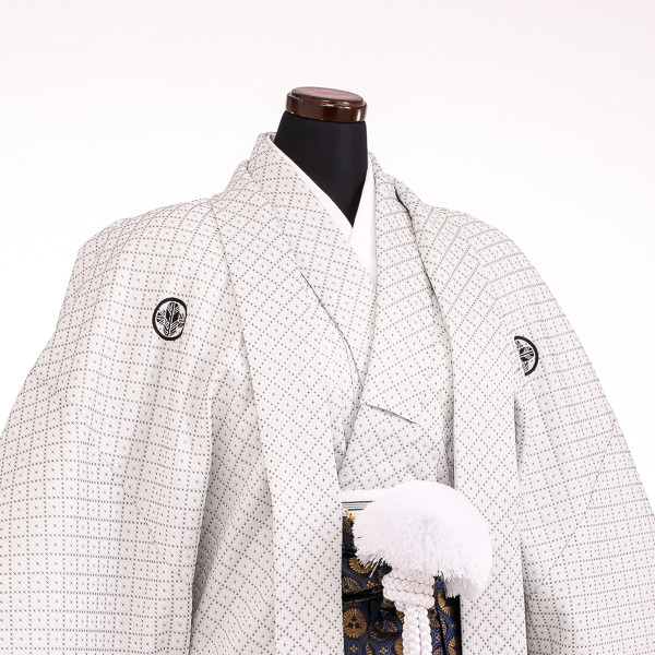 卒業式成人式袴男レンタル104*5/オフホワイト刺子/紺