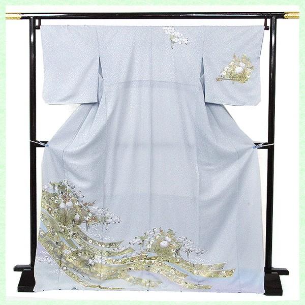 桂由美・ブルーグレー色地バラ花車 熨斗桜