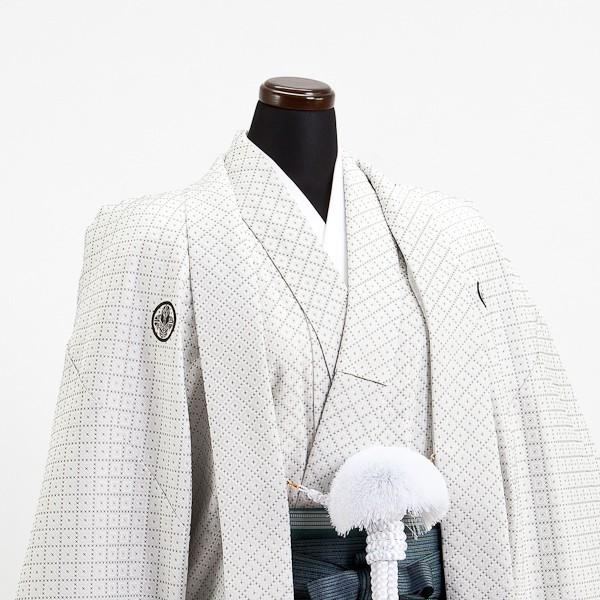 卒業式成人式袴男レンタル033*3/オフ白刺子/緑縞