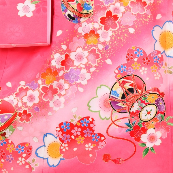 お宮参り女の子154 ピンク /金糸花車と桜
