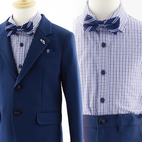 [男児スーツ]長ズボン ネイビー ステッチジャケット 0056 100㎝~