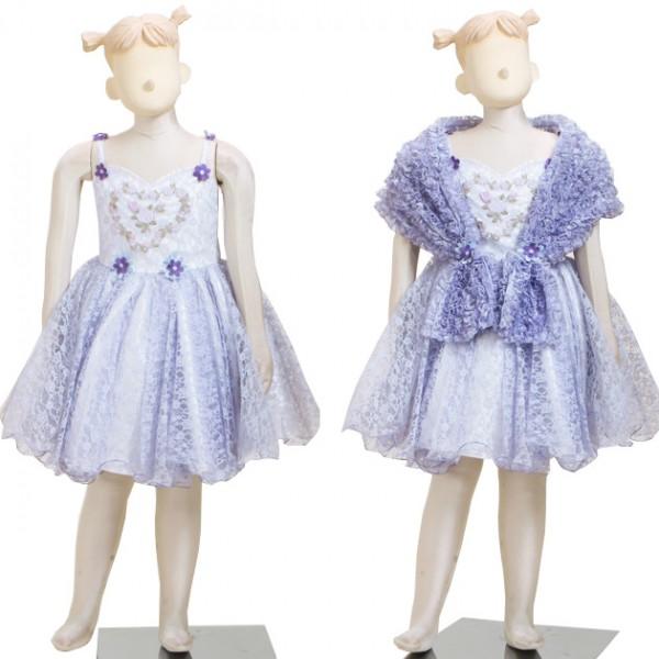子供ドレス 7~9才 薄紫 ノースリーブ dj020