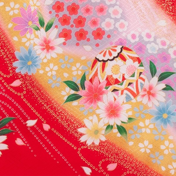 お宮参り女の子141 赤 /鞠と花盛り