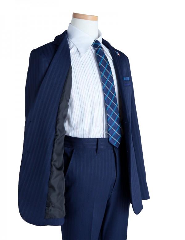 [男児スーツ]長ズボン/紺シャドーストライプ/BS36