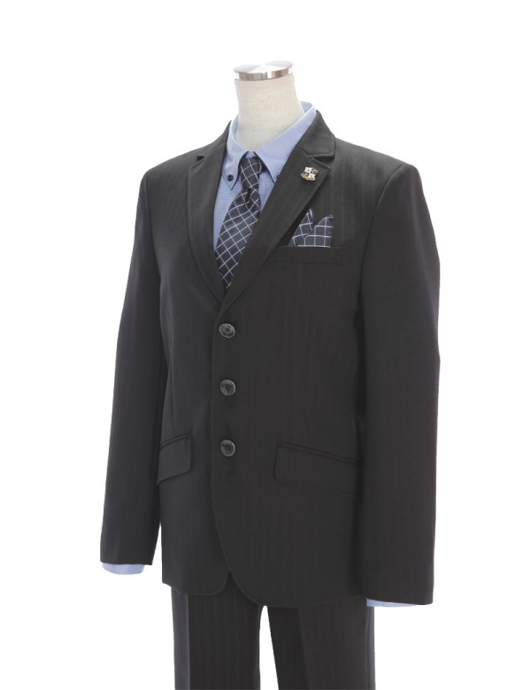 [男児スーツ]長ズボン/黒シャドーストライプ/BS35
