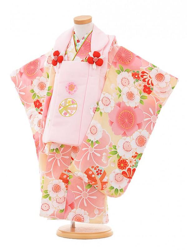 七五三レンタル(3歳女被布)A316 ピンク鈴×黄色鼓に花
