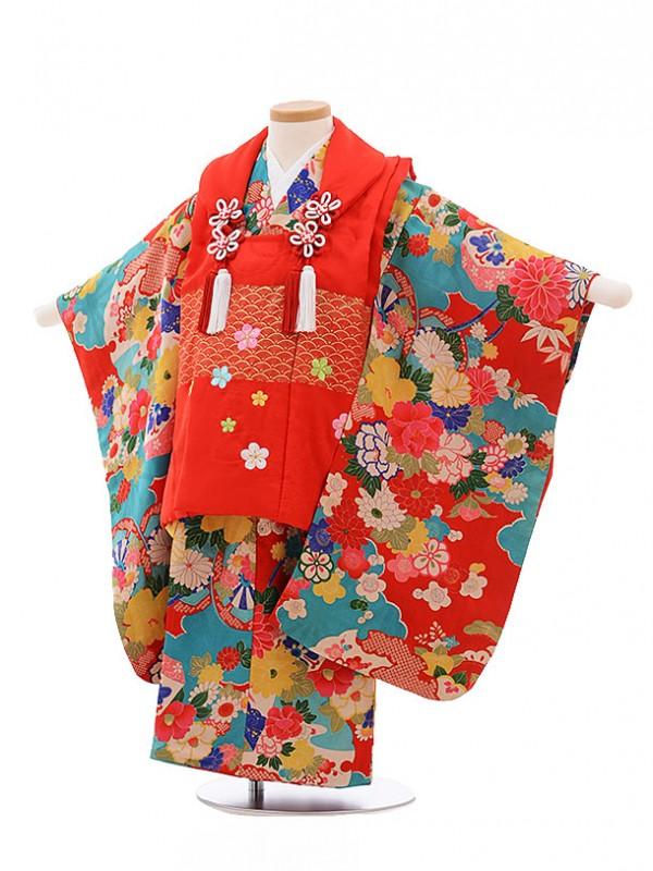 七五三レンタル(3歳女被布)3441 アンティーク 赤×赤 雲取花