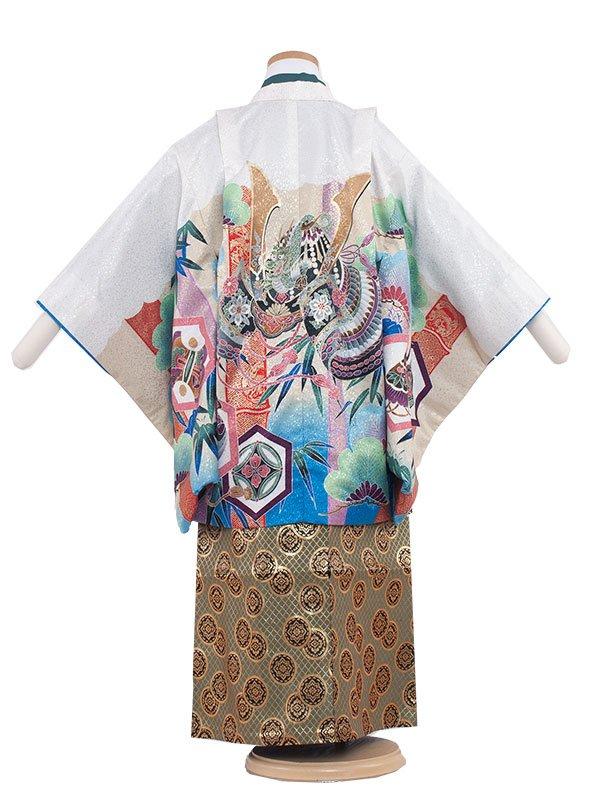 七五三レンタル(5歳男袴)5183 白色×兜