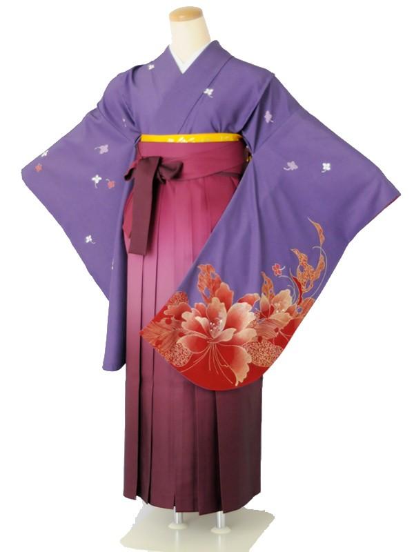 小学生卒業式袴女児c151小紋パープル×ワインぼかし
