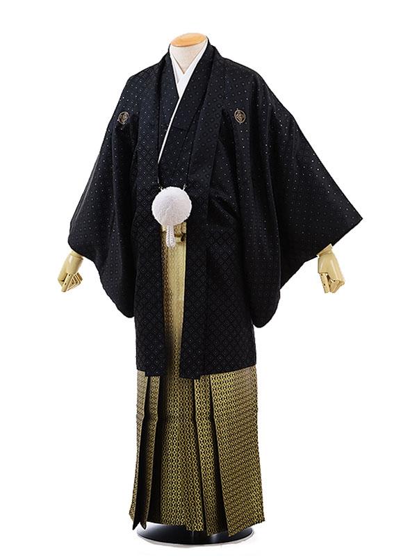 男性用袴レンタル2064紋付黒ダイヤ×金ダイヤぼかし