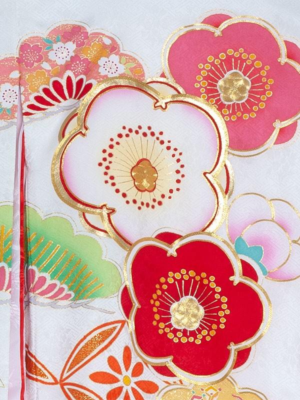 【正絹】お宮参り女の子1185 白/梅の花