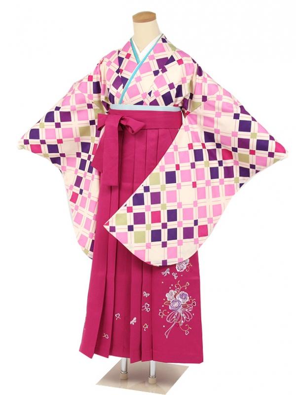 クリーム地に紫・ピンクスクエアカット柄・ピンクバラ刺繍袴