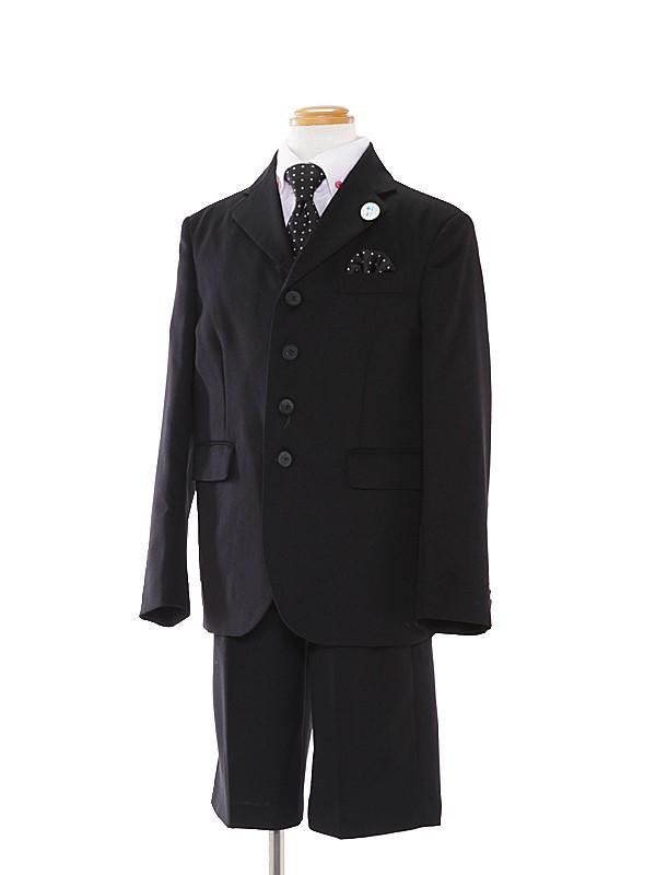 [男児スーツ]半ズボン/黒4つ釦/ピンクシャツ/BS6