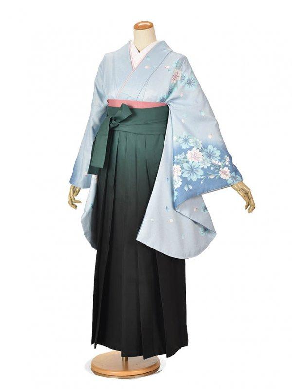 卒業袴 0053ブルー花・グリーングラデーション袴