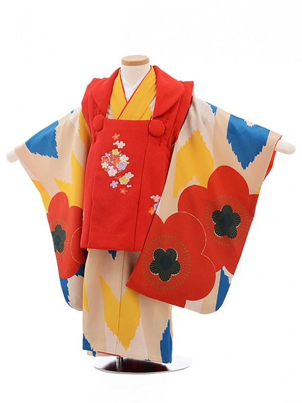 七五三(3歳女被布)3470 赤×ベージュ梅