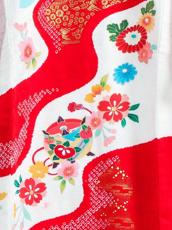 【正絹】お宮参り女の子1106 白 /熨斗と鈴