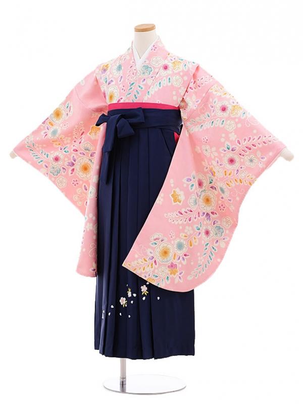小学生卒業袴(女の子)T1030 ピンク花藤×紺袴