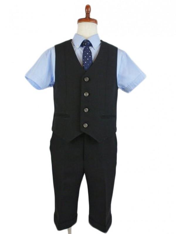 [男児スーツ] 半ズボン CHOPIN 半袖ブルーシャツ/ベストスーツ