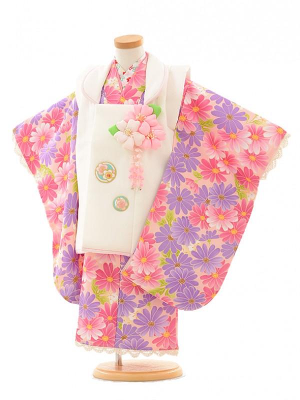 七五三レンタル(3歳女の子被布)3193ピンクパープル小花