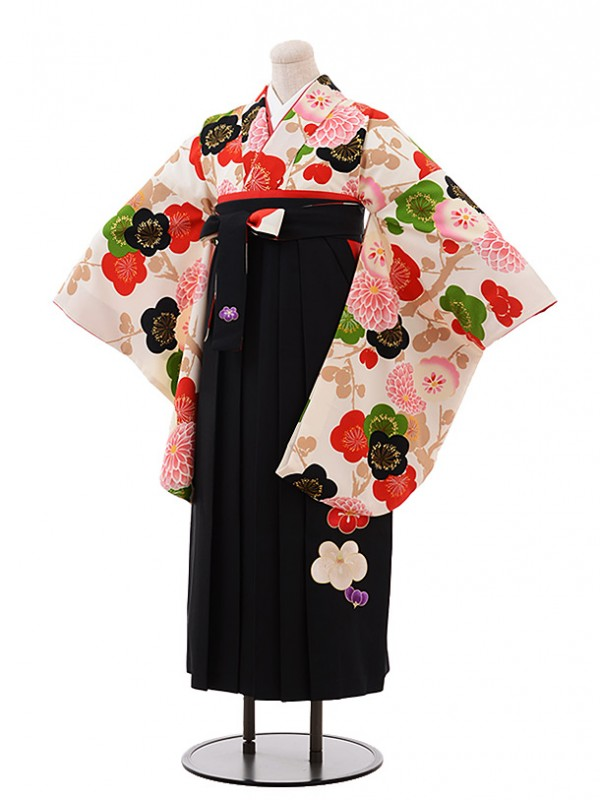 卒業袴レンタル h241 紅一点 クリーム地 梅×黒袴