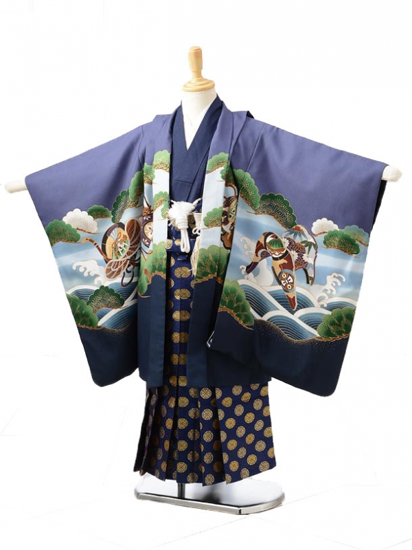 753レンタル(5歳男の子袴)0562なす紺×青たか
