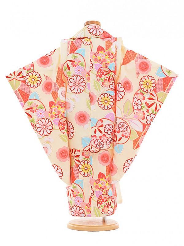 七五三レンタル(3歳女の子被布)3341 クリーム色 橘に菊