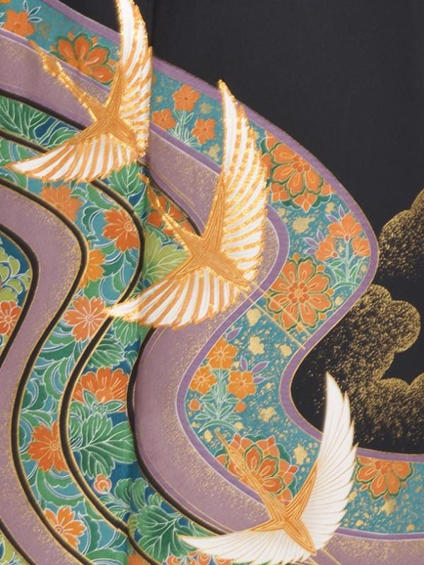 黒留袖(夏)水唐花鶴TO528