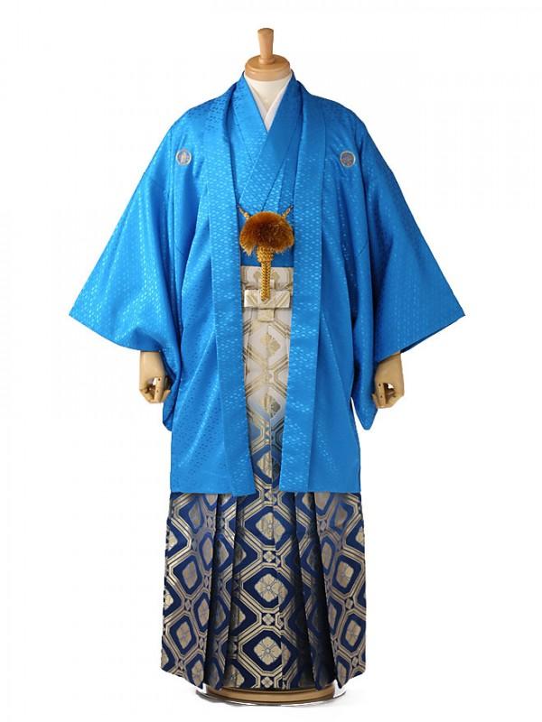 成人式 卒業式 男 袴レンタル 青紋付×金青袴 0101