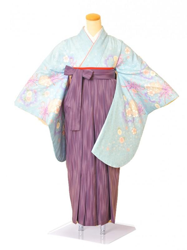 卒業袴 0049水色花紋 ・紫かすり袴