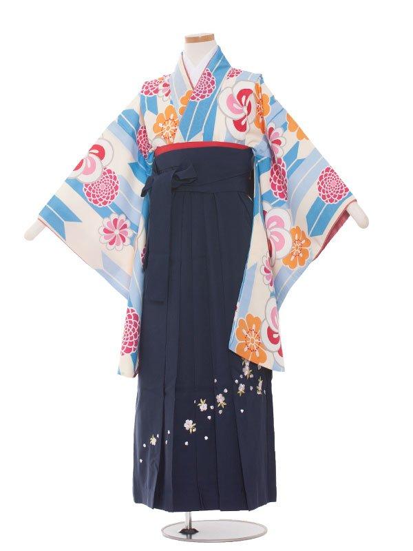 小学生卒業袴レンタル(女の子)178 水色×矢がすり梅/紺袴