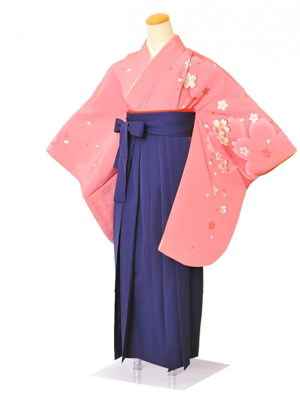 卒業袴  0025ピンク桜さくら・紺袴