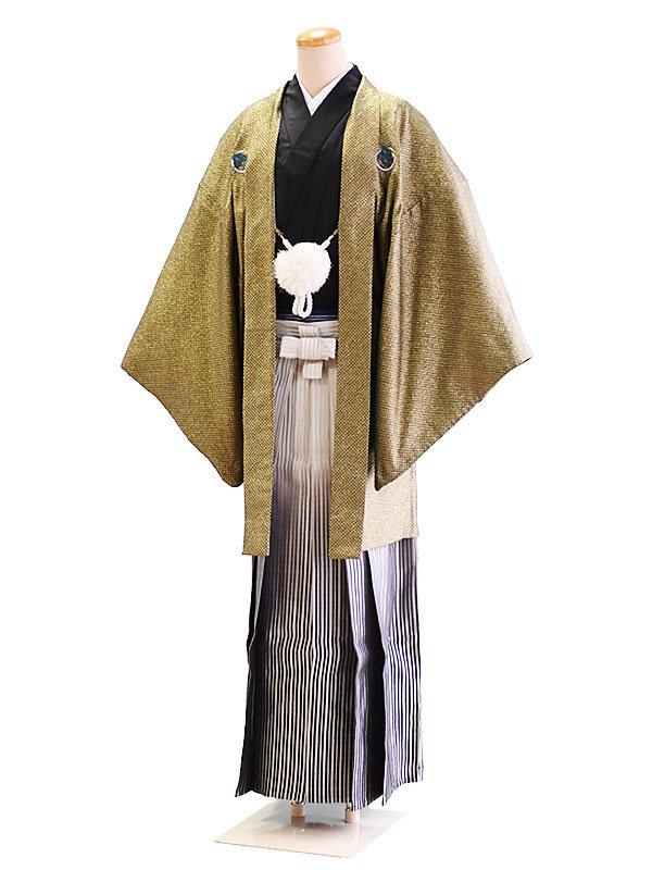 卒業式成人式男性用袴018金・黒/黒×白/ぼかし・縞 6号