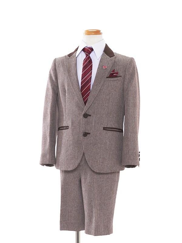 [男児スーツ]半ズボン/茶/ソフトツイード/BS16