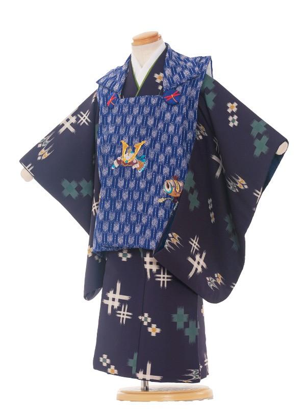 七五三レンタル(3歳男被布)3-79 紺地/青矢絣