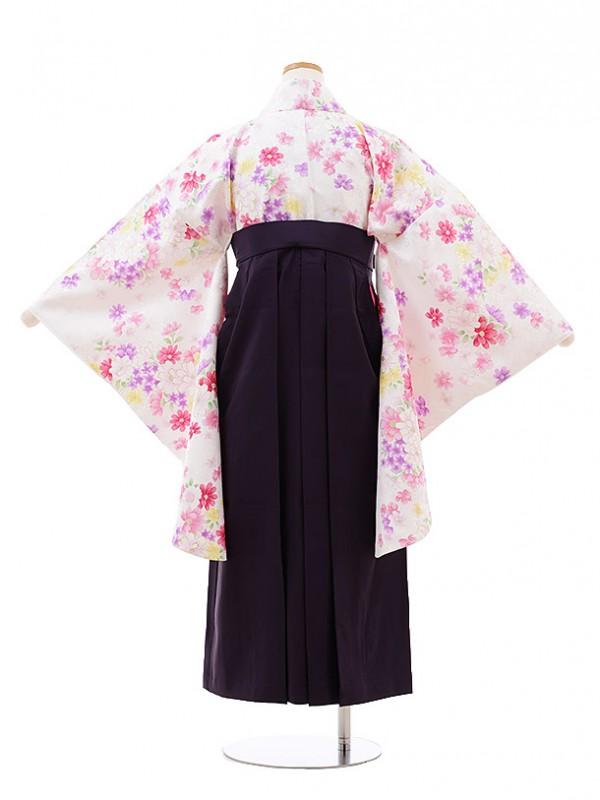 小学生 卒業袴 女児 Z017 白地 小菊×パープル袴